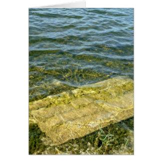 Concrete slab in pond greeting card