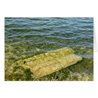 Concrete slab in pond greeting cards