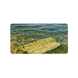 Concrete slab in pond personalized address labels