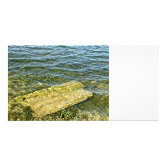 Concrete slab in pond picture card