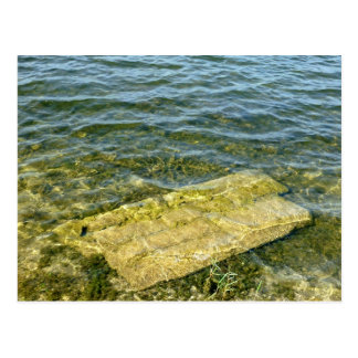Concrete slab in pond post cards