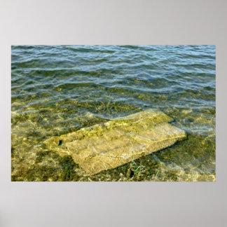 Concrete slab in pond poster