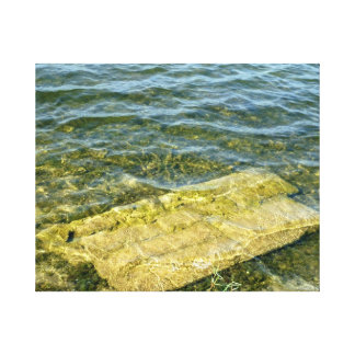 Concrete slab in pond stretched canvas prints