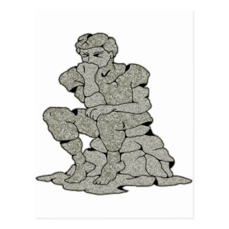 Concrete Stone Thinker Tattoo Postcard