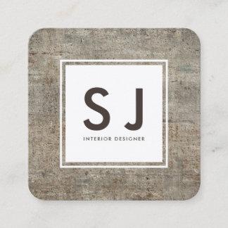 Concrete Texture Simple Modern Interior Designer Square Business Card