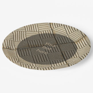 Concrete Tiles Mediterranean Pattern any Text Paper Plate