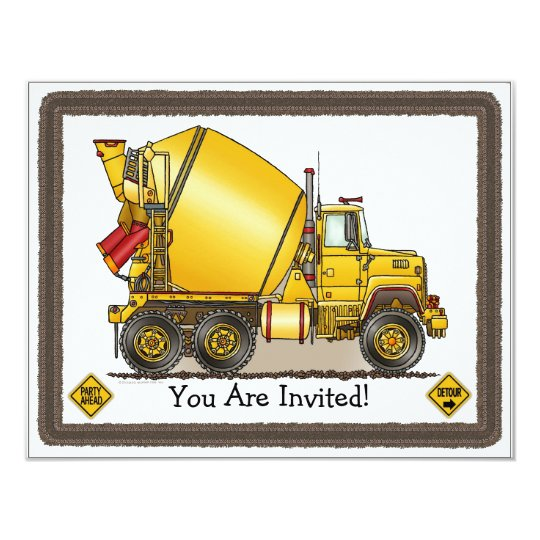 Concrete Truck Kids Party Invitation