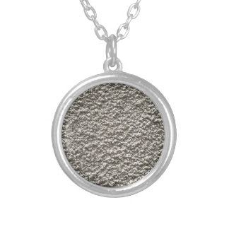 Concrete wall background round pendant necklace