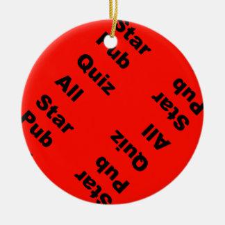 concurso del pub toda la estrella adorno navideño redondo de cerámica