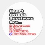 Concurso del superviviente del ataque del corazón pegatina redonda