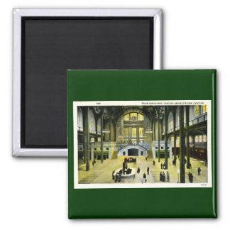 Concurso del tren, vintage de la estación de la un imán cuadrado