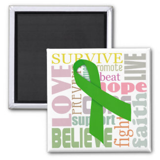 Concussion Green Ribbon Inspiration Square Magnet