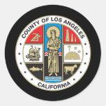 Condado del sello de Los Ángeles Pegatinas Redondas