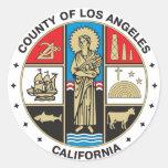 Condado del sello de Los Ángeles Pegatina Redonda