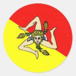Condado del sicilia de Italia de la bandera de la Etiqueta Redonda