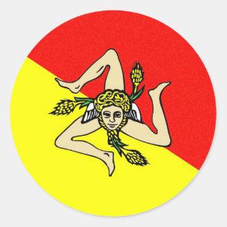 Condado del sicilia de Italia de la bandera de la Pegatina Redonda