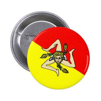 Condado del sicilia de Italia de la bandera de la  Pin Redondo 5 Cm