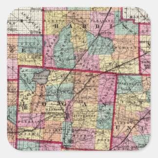 Condados 2 de Ohio Pegatina Cuadrada