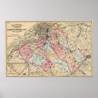 Condados de Camden, Gloucester, NJ Póster