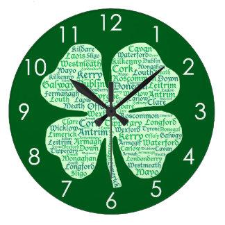 Condados de la diversión del trébol de Irlanda Reloj Redondo Grande