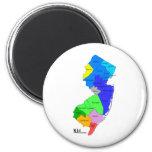 Condados de New Jersey en color Imán Redondo 5 Cm