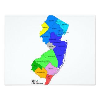 """Condados de New Jersey en color Invitación 4.25"""" X 5.5"""""""