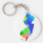 Condados de New Jersey en color Llavero Redondo Tipo Pin
