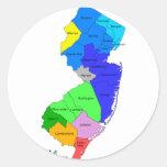 Condados de New Jersey en color Pegatina Redonda
