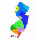 Condados de New Jersey en color Postal