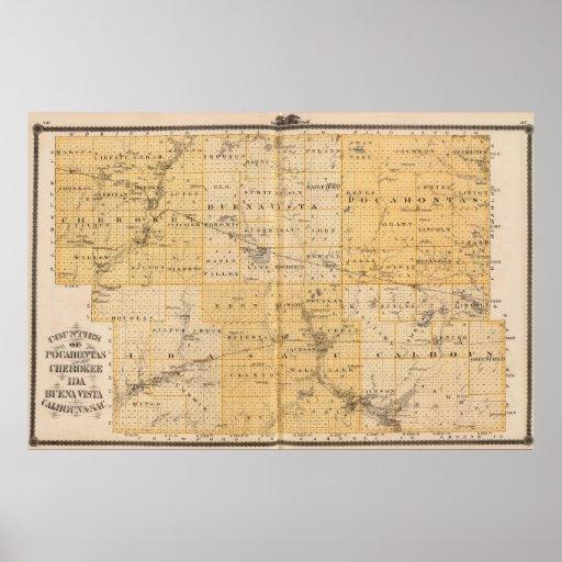 Condados de Pocahontas, cherokees Póster