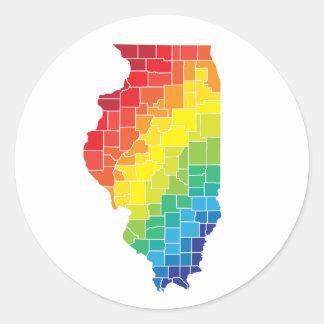condados del color de Illinois Pegatina Redonda