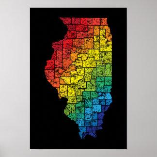 condados del color de Illinois Póster