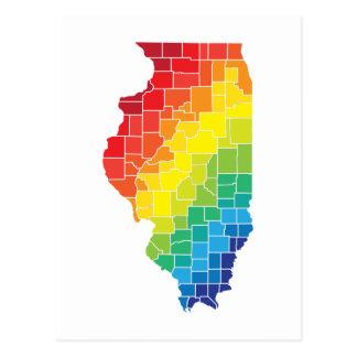 condados del color de Illinois Tarjeta Postal