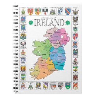 Condados del cuaderno de Irlanda