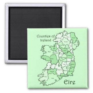 Condados del mapa de Irlanda Imanes Para Frigoríficos