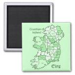 Condados del mapa de Irlanda Imán Cuadrado