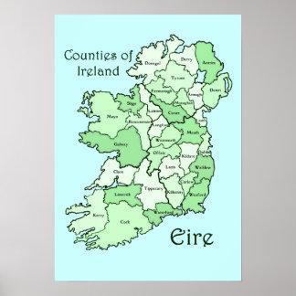 Condados del mapa de Irlanda Poster