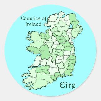 Condados del mapa de Irlanda Pegatina Redonda