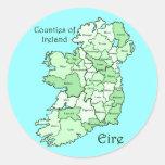 Condados del mapa de Irlanda Pegatinas Redondas