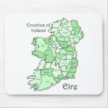 Condados del mapa de Irlanda Tapete De Ratón