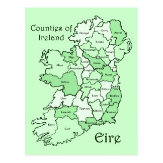 Condados del mapa de Irlanda Tarjetas Postales