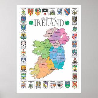 Condados del poster de Irlanda