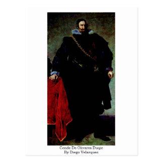 Conde De Olivares Duqie By Diego Velazquez Postcards