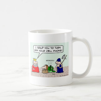 Condemned prisoner must turn cell phone off. coffee mug