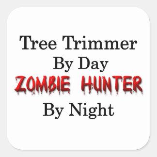 Condensador de ajuste del árbol/cazador del zombi pegatina cuadrada