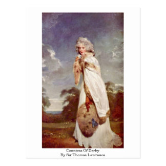 Condesa de Derby de sir Thomas Lorenzo Tarjeta Postal