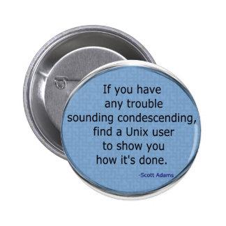Condescending Unix - Scott Adams Pinback Buttons