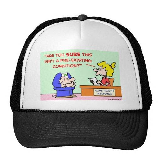 condición preexistente gorras
