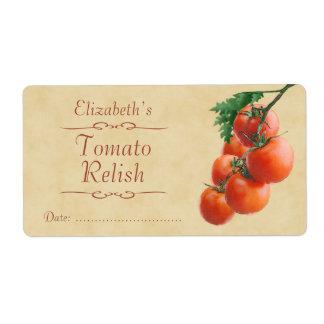 Condimento o enlatado del tomate etiquetas de envío