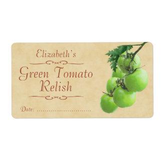Condimento verde o enlatado del tomate etiquetas de envío